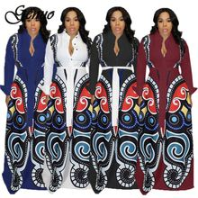 S-XXXL women new 3D butterfly printed long sleeve turn-down neck high waist fit flare maxi dress casual vestidos
