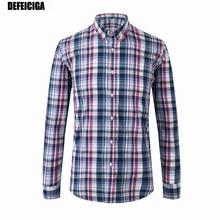 2019 DEFEICIGA Mens Plaid Pure Cotton Shirt Summer 100% Casual Fashion Man High Quality Shirts 014