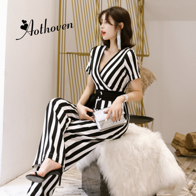 Summer Jumpsuits Romper Women V-Neck Short Sleeve Striped Straight Office Casual Full Length Ladies Overall Jumpsuit Bodysuit