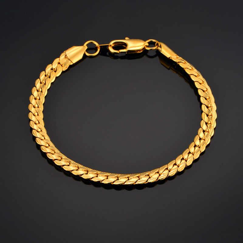مجوهرات رجالية براكليت سلسلة للرجال براكليت 2019 ذكر لون ذهبي ثعبان سلسلة ربط سوار مجوهرات رجالية ، أساور وأساور