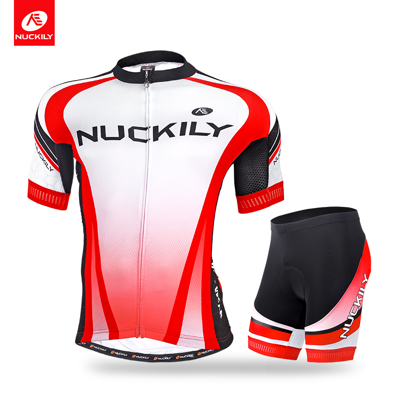 NUCKILY Summer Coolmax Cycling Jersey Bicycle Short SleeveTop and Foam Padding Short Set For Men  MA016MB016 nuckily ma008 mb008 men short sleeve bicycle cycling suit
