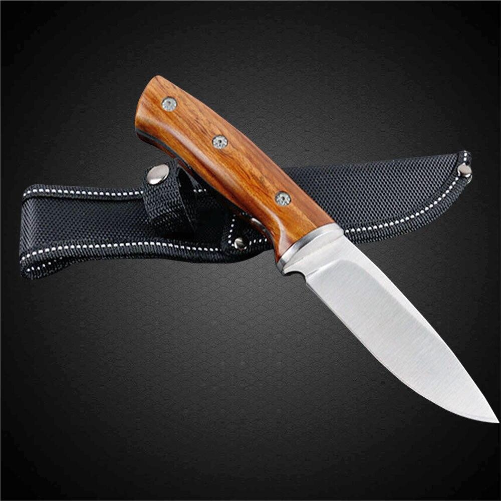 DuoClang táctico cuchillo caza cuchillo de acero inoxidable 440 58HRC alta dureza mango de madera de cuchillos
