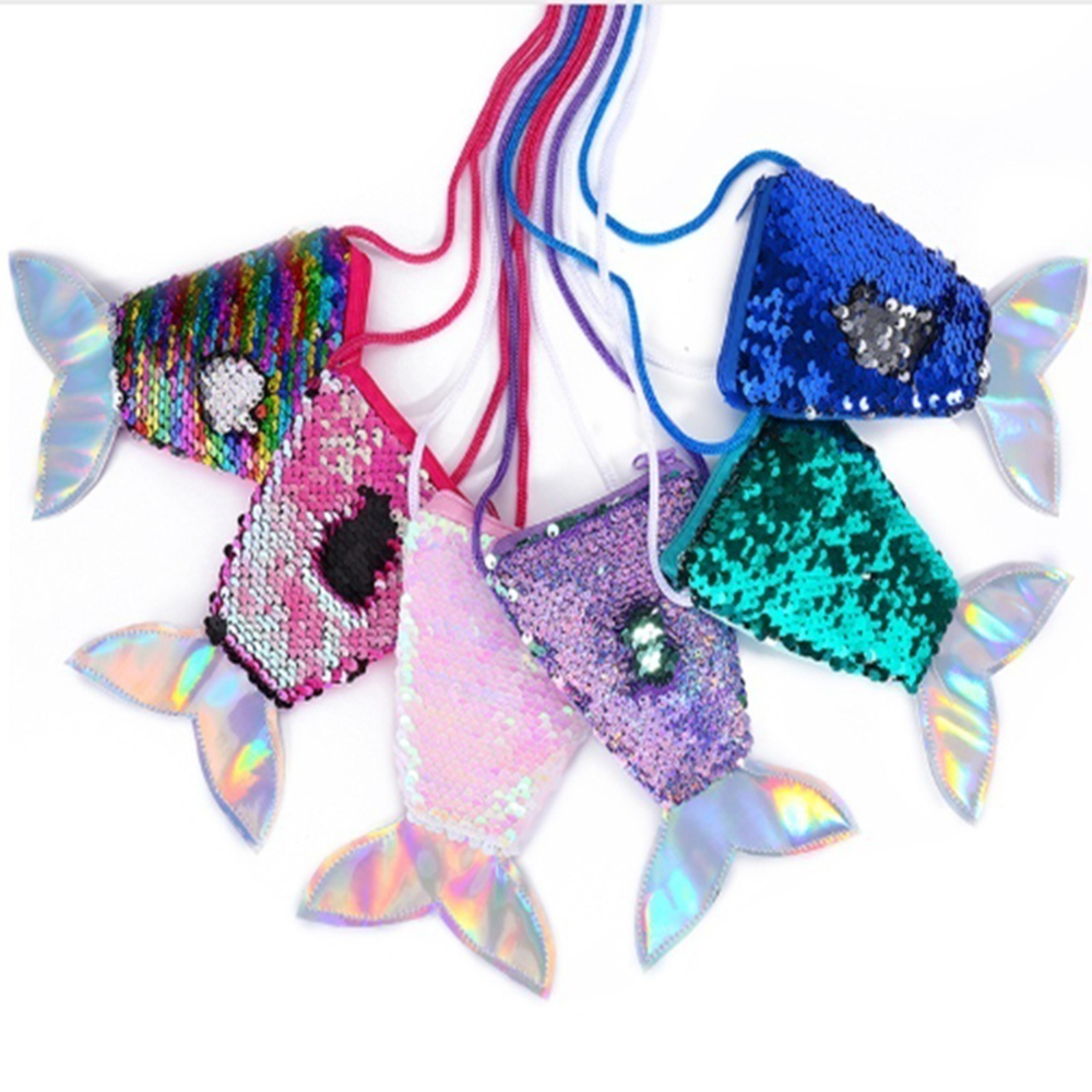 e321f57aee40 Big Sale] 2019 Girl Mermaid Tail Sequins Coin Purse and Wallet ...