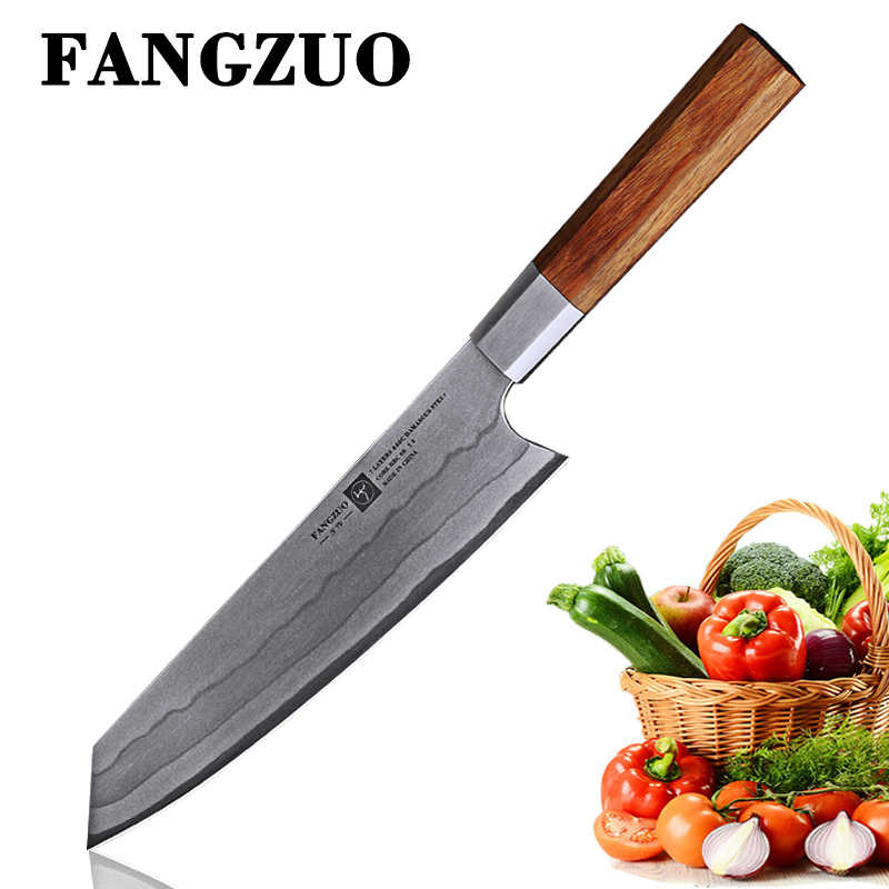 FANGZUO NEW 2019  Handmade 8 inch Chef Knife Japanese Kitchen Knives Stainless Steel Slicing Vegetable Tool Knife Santoku Knifes