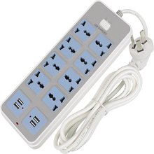 New Smart Power Strip 10 A Fast Charging 8 USB Extension Socket Plug 4 Standard Socket Adapter UK EU