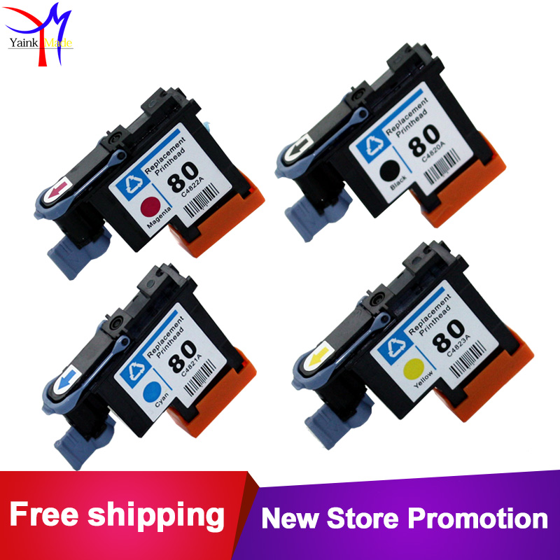 4 colors Remanufactured for HP 80 printhead for HP Designjet 1000 1050c 1055 printer Ink Cartridge Head for HP80 print head 3 pc lot printhead cover units for hp81 hp83 print head protector for hp designjet 5000 5500 1000 1050 1055 printer