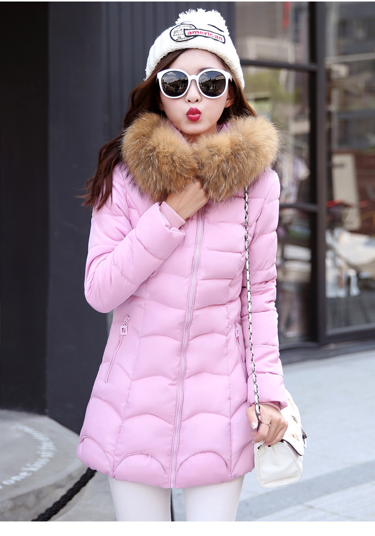 ФОТО Women Slim Faux Fur Hooded Winter Thick Warm Parka Adjustable Waist Jacket Female Cotton Jacket Outerwear Parkas A-8