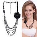 Tassel Necklaces For Women 2017 Colar Fashion Jewelry Big Large Necklace Female Black Color Flower Necklaces Trendy Style Collar