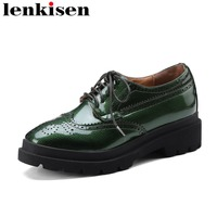 Lenkisen 2018 Superstar Round Toe Lace Up Handmade Runway Platform Causal Shoes Oxford Party Solid Thick