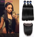 Brazilian Straight Hair With Closure 8A Straight Human Hair Brazilian Virgin Hair Ear to Ear Frontal Closure with 3 Bundles