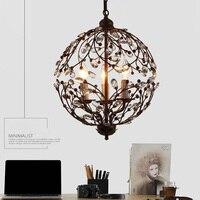 Современный, дизайнерский с кристаллами подвесной светильник лампа металлический цветок с кристаллами шар подвесные светильники Люстра р