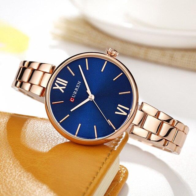 CURREN 9017 New Women Watches Luxury Brand Watch Rose Gold Women Quartz Clock Creative Wood Pattern Dial Fashion Wristwatch 4