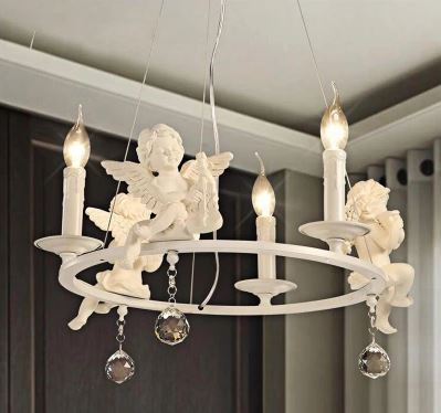American Country Angel Chandelier Nordic Personality Living Room Lamp Dining Room Lamp Children's Room Lamp Bedroom Chandelier