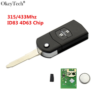 Okeytech 2 Button Flip Folding Remote Car Key 315 433Mhz With ID83 4D63 Transponder Chip For