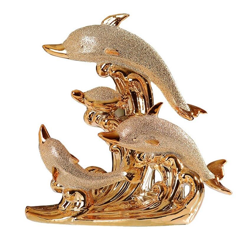 Moderne Décor À La Maison Dauphin Figurines Faites À La Main En Céramique Doré Dolphin Bay Amour Artisanat Ornements Salon Décor De Mariage Cadeaux