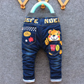 The winter of 2016 small and medium-sized boy washed denim trousers panty Children cartoon printing cotton trousers (3-7)