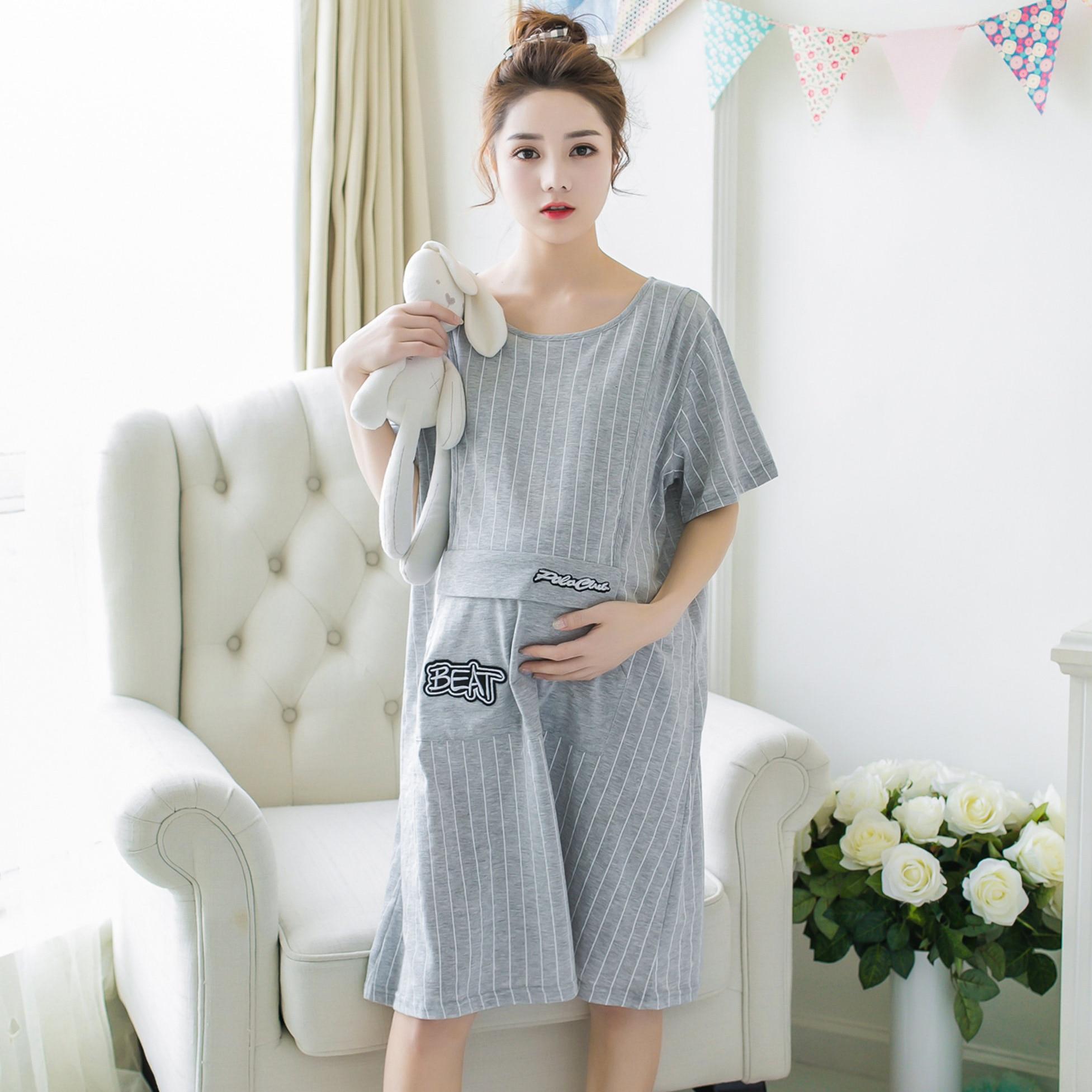 363# 3XL 4XL Summer Maternity Nightgown Loose Breastfeeding ...