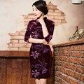 2016 Традиционный Китайский Платье Cheongsam Женщины Урожай С Длинным Рукавом Велюр Qipao Китайский Стиль Элегантный Красный S M L XXL XXXL