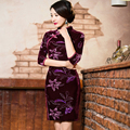 2016 Traditional Chinese Dress Cheongsam Women Vintage Long Sleeve Velour Qipao Chinese Style Elegant Red S M L XXL XXXL