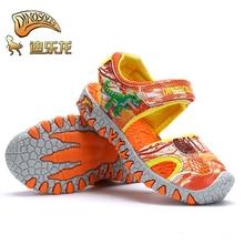 Dinoskulls Марка динозавров обувь Детская летние босоножки с закрытым носком для мальчиков модная детская одежда Повседневное пляжные сандалии