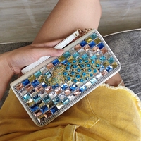 CAJIFUCO Luxury Crystal Women Wallet Rhinestone Peacock Style Genuine Leather Coin Pouch Colours Diamond Wallet Phone Clutches
