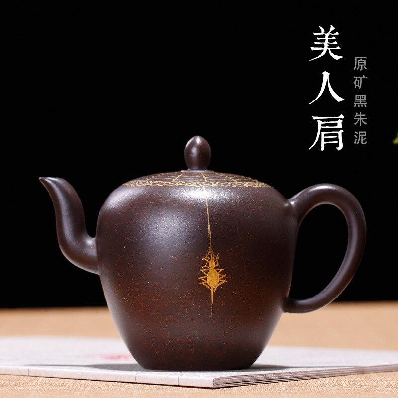 Yixing violet sable Teaware brut Mine noir Zhuni beauté épaule théière faite à la main véritable or dessin araignée