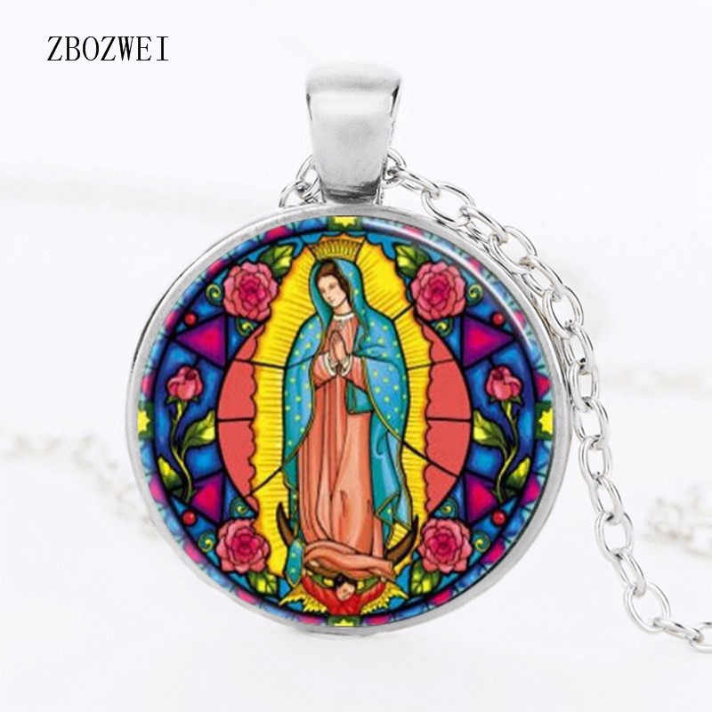 Virgin Guadalupe Necklace Virgin Mary Sacred Heart Religious Stained Glass Bezel Art Pendant Clothing Accessories Necklace