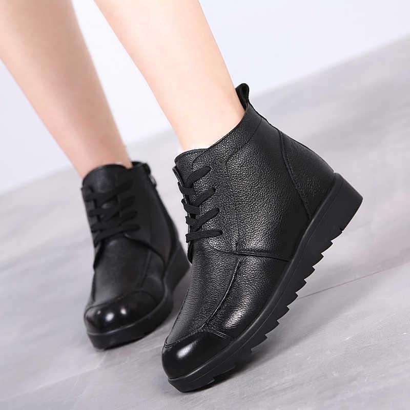4bb1df5e0 ... Модные зимние женские сапоги женские на шнуровке ботильоны шерсть  теплые зимние сапоги Дамская обувь женская обувь ...