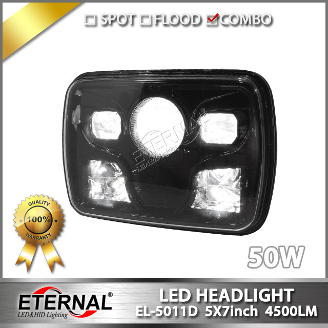 2pcs 50W LED Headlights H4 Light for Jeep Wrangler YJ Cherokee Comanche MJ pick up truck 4x4 5x7 led light headlamp майка print bar minion totoro