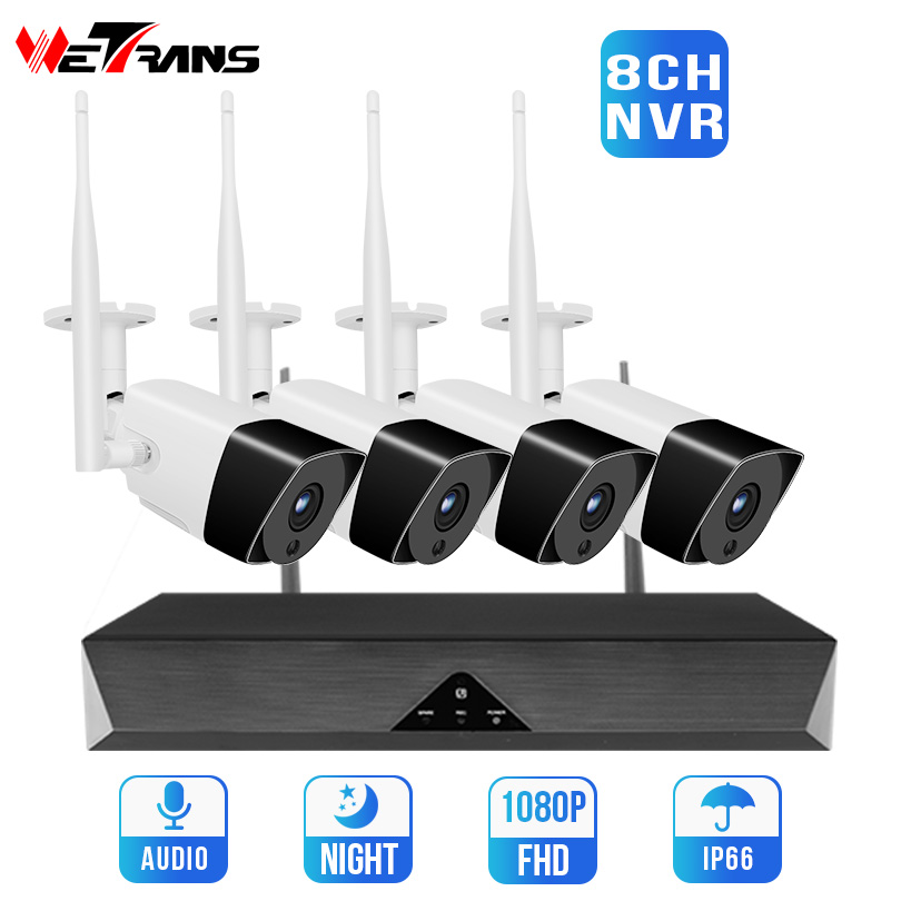 Wetrans Wireless Security Camera System Kit CCTV 8CH 1080P Wifi NVR Video Surveillance IP Camera Systeem 4CH Audio Record HD 2MP
