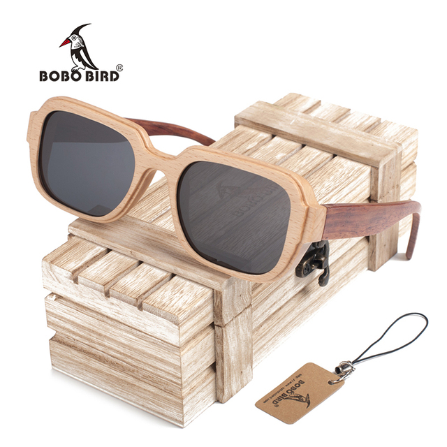 33945c5b1c BOBO BIRD DG05 Wooden Sunglasses Splice Two Wood Frame Summer Polarized  Lens Gafas Sun Glasses for