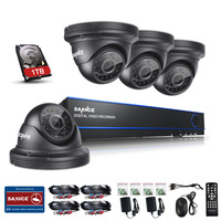 SANNCE 4CH 1080P CCTV DVR Recorder 4 HD 1920 1080P In Outdoor Security Camera System 1TB