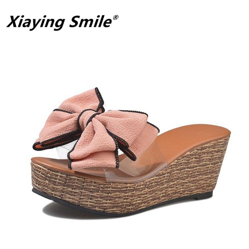 Xiaying Lächeln Frauen Slipper Sandalen 2018 Beliebtesten Schuhe Außerhalb Keile Schmetterling Weibliche Hausschuhe Sommer Ferse Plattform Schuhe