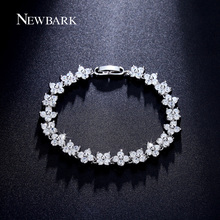 NEWBARK Flower Or Butterfly Design CZ Diamond Bracelets Women Silver Color White Gold Plated Best Friend Gift Jewelry