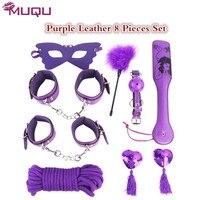 Boca gag látigo paleta de Cuero Púrpura adultos juguetes sexuales bdsm sex bongdage set de 8 unidades traje correa en los juguetes sexuales para parejas sexy shop