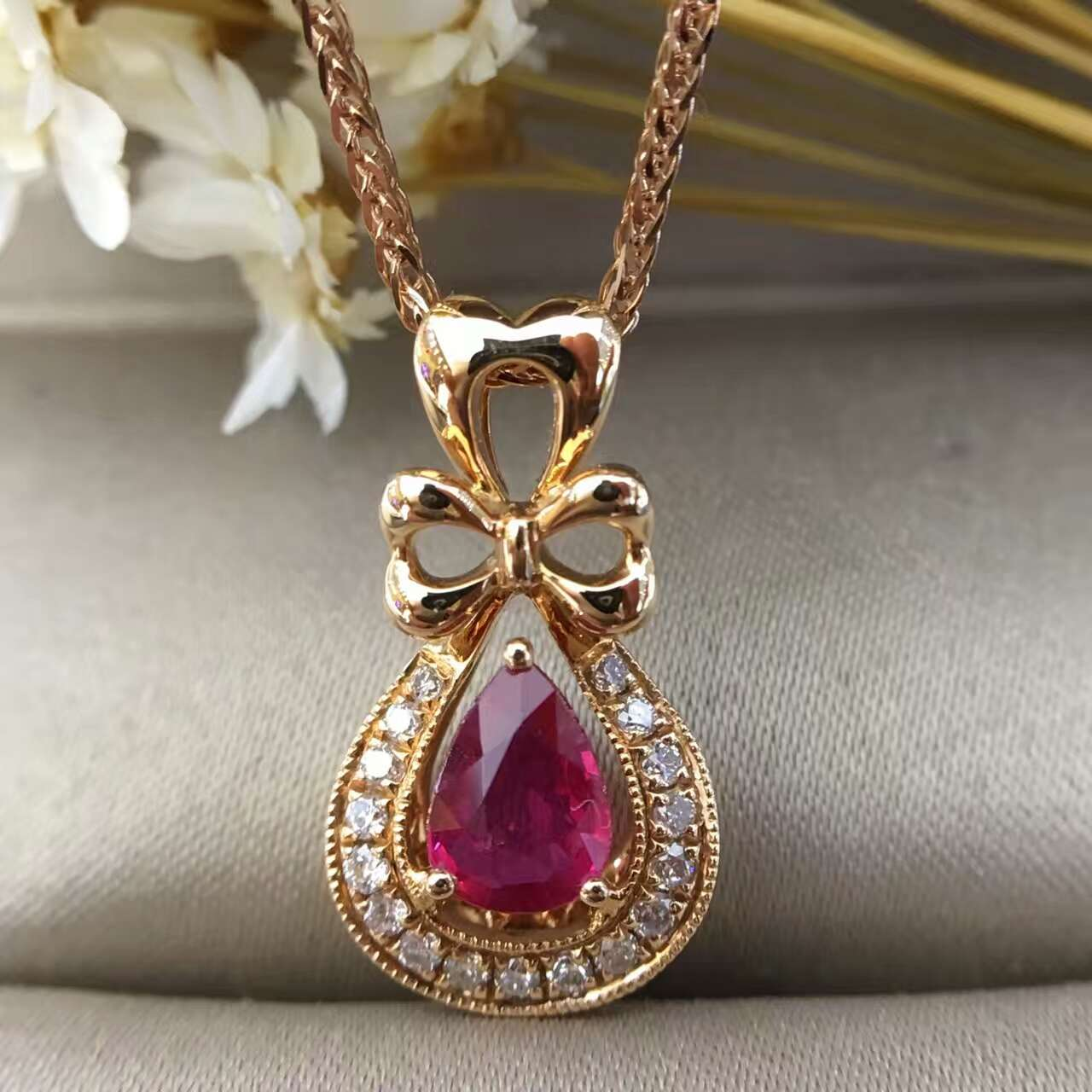 18K Gold 0 513ct Natural Ruby and Pendant font b Necklace b font 0 126ct font