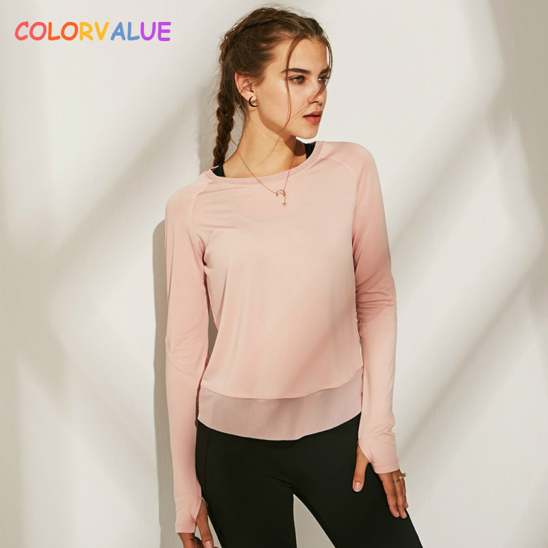 Colorvalue Quick Dry Back Open Fitness Running Shirts Women Loose Fit Sport Jogger Long Sleeved Shirts Tops With Thumb Holes