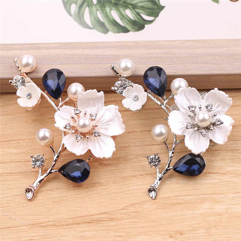 แฟชั่นผู้หญิงเครื่องประดับ Vintage เข็มกลัด Pins คริสตัลเทียมไข่มุกดอกไม้เข็มกลัดงานแต่งงาน Bouquet Pin อุปกรณ์เสริม