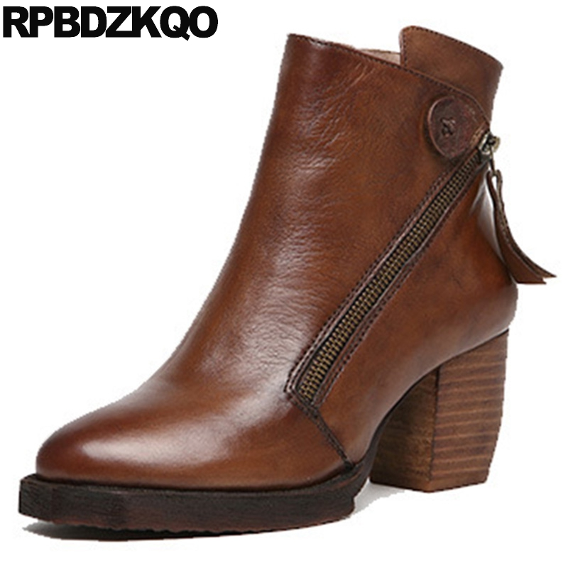 Brand Women Winter Boots Genuine Leather Retro Autumn Booties Chunky Shoes Fall Brown High Quality 2017 Platform Ankle Ladies rivet genuine leather fall booties brand women winter boots metal embellished chunky autumn brown ankle stud handmade shoes