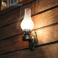 LumiParty 3 Types Vintage Retro Wall Light Lamp Glass Lampshade Iron Bedside Restaurant Aisle Bedroom Devoration