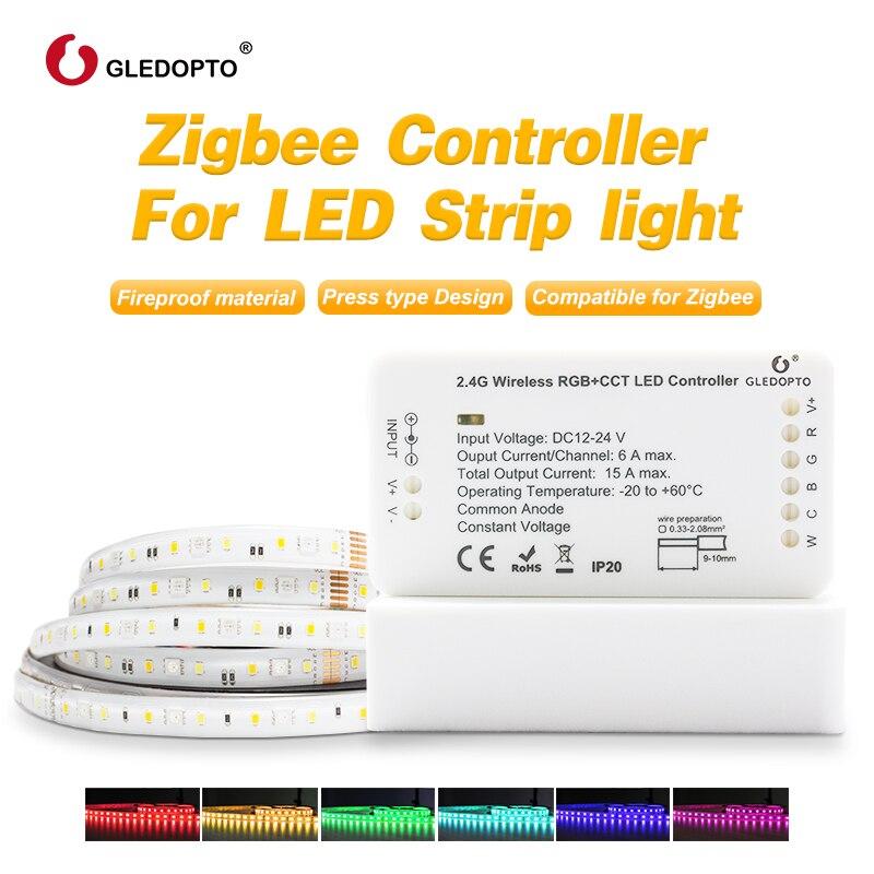 Trabalho com alexa echo puls zigbee luz de tira conduzida rgb/rgbw/rgb + cct warm white 24 V zigbee controlador controle de telefone inteligente LEVOU luz