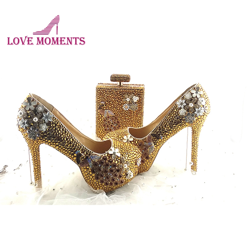 Gorgeous Gold Rhinestone Wedding Shoes with Phoenix Deco 5 Inches Party Prom High Heels with Purse
