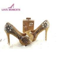 Великолепный золотой со стразами свадебные туфли с Феникс деко 5 дюйм(ов) Туфли на высоком каблуке для выпускного вечера с кошелек духи, форм