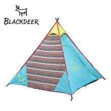 Blackdeer Indio familia Coreana yurta tienda de campaña 3 persona al aire libre tienda de campaña tienda de campaña de una sola capa de conducción presentó Una pirámide torre de Mongolia