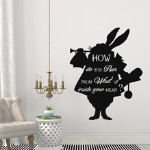 Cartoon Alice In Wonderland Rabbit How Do You Run Quotes Wall Decals Kids Bedroom Home Art Decor Vinyl Creative MuralD-181