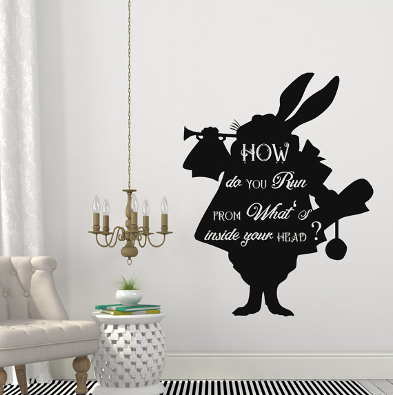 Cartoon Alice In Wonderland Konijn In Hoe U Run Quotes Muurstickers