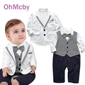 Cute Formal Suit Gentleman Baby Boy Clothes White Coat Striped Rompers Clothing Set Newborn Baby Wedding Suit