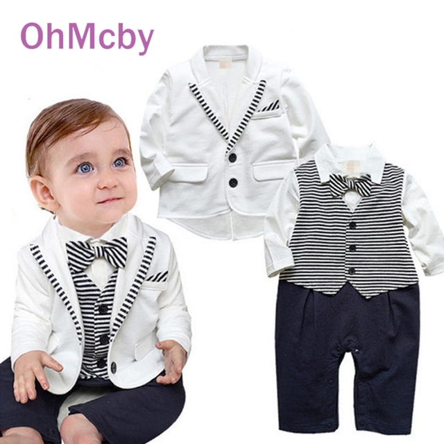 9c29654bb Cute Formal Suit Gentleman Baby Boy Clothes White Coat Striped ...