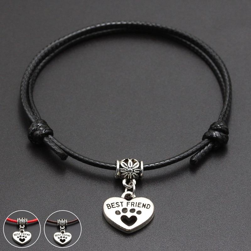 2020 New Dog is Best Friend Pendant Red Thread String Bracelet Lucky Black Coffee Handmade Rope Bracelet for Women Men Jewelry