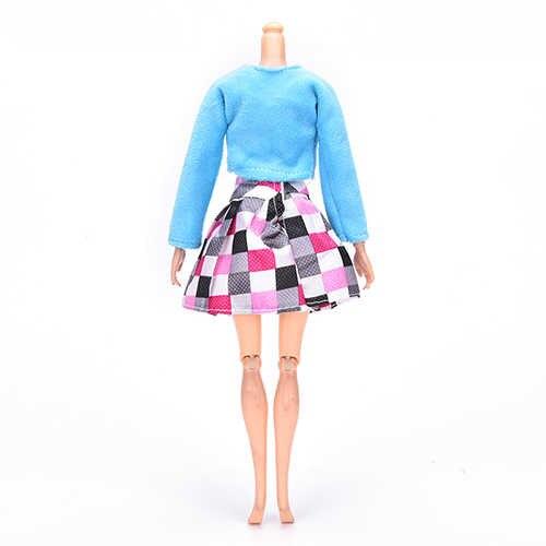 3 قطعة/المجموعة للعب باربي الدمى الملابس معطف بياقة من الفرو تانك منقوشة تنورة البدلة